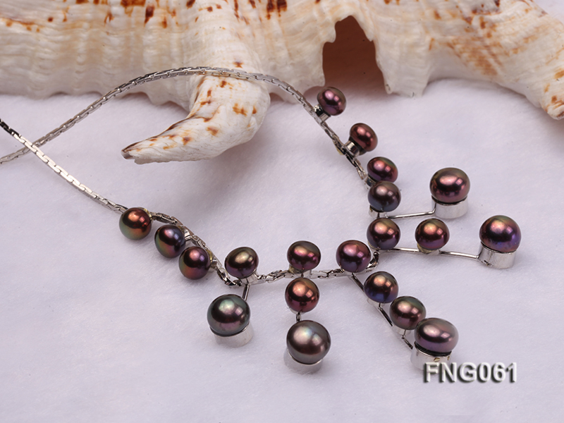 8.5mm Purple Freshwater Pearl on a Gold Plated Chain Necklace big Image 4