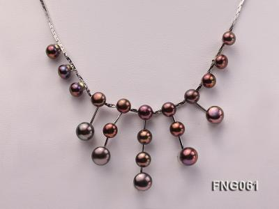 8.5mm Purple Freshwater Pearl on a Gold Plated Chain Necklace FNG061 Image 2