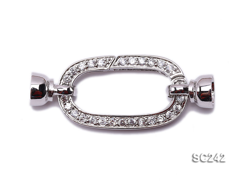 Exquisite 18K Gold-plated Zircon-inlaid Sterling Silver Necklace Clasp  big Image 1