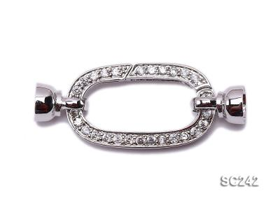 Exquisite 18K Gold-plated Zircon-inlaid Sterling Silver Necklace Clasp  SC242 Image 1