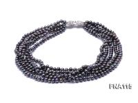 Five-Strand 6.5-7mm Black Freshwater Pearl Necklace  FNA115