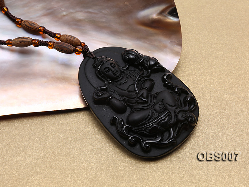 45x60mm Carved Black Obsidian Pendant big Image 2