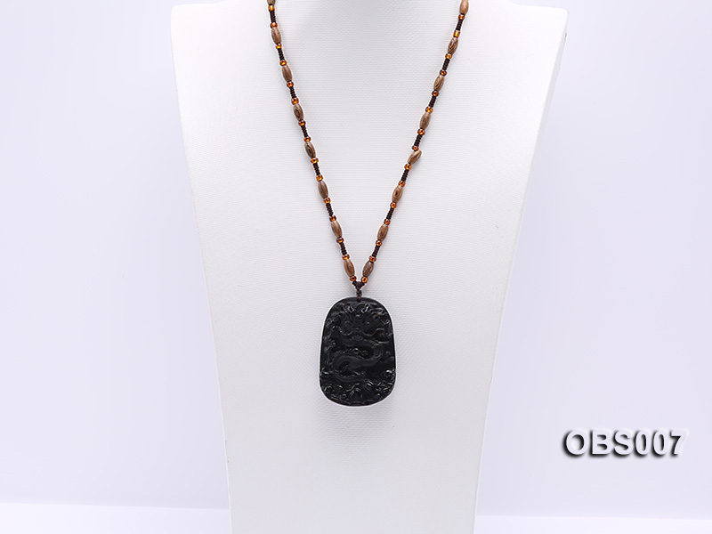 45x60mm Carved Black Obsidian Pendant big Image 4