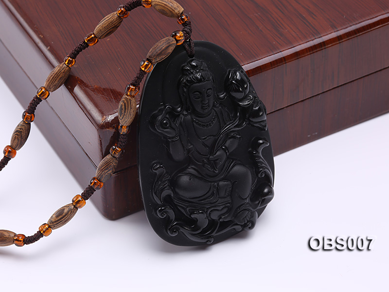 45x60mm Carved Black Obsidian Pendant big Image 5