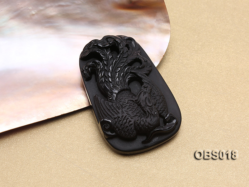 37x53mm Black Obsidian Pendant big Image 2