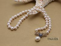8-9 Selected Round White Edison Pearl Necklace with a Sterling Silver Piece FNA125