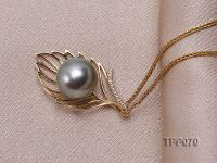 10mm Round Black Tahitian Pearl Pendant with 14k Gold Bail dotted with Diamonds TPP070