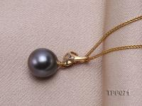 10.2mm Round Black Tahitian Pearl Pendant with 14k Gold Bail dotted with Diamonds TPP071