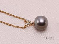 10.5mm Round Black Tahitian Pearl Pendant with 14k Gold Bail dotted with Diamonds TPP076