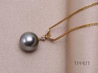 10.5mm Black Tahitian Pearl Pendant with 14k Gold Bail dotted with Diamonds TPP077