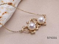 8mm AAA White Round Akoya Pearl Pendant in 14K Gold  SPN086