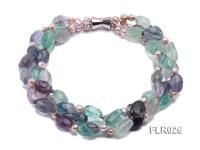 15x25mm Three-Strand Fluorite Beads Necklace FLR026