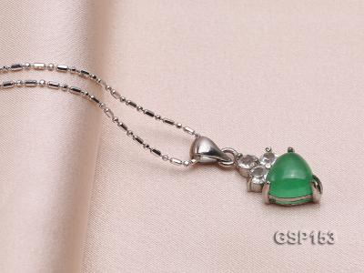 9x14mm Green Jade Cabochon Pendant with Zircon GSP153 Image 2