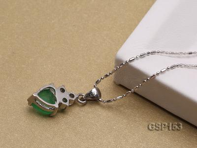 9x14mm Green Jade Cabochon Pendant with Zircon GSP153 Image 3
