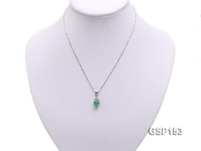 9x14mm Green Jade Cabochon Pendant with Zircon GSP153 Image 5
