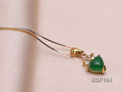 9x14mm Green Jade Cabochon Pendant with Zircon GSP154 Image 2