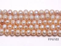 Wholesale 8X9mm Pink Near Round Freshwater Pearl String FPW133