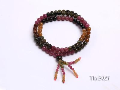 6mm Colorful Round Natural Tourmaline Beads Elasticated Bracelet TMB027 Image 1