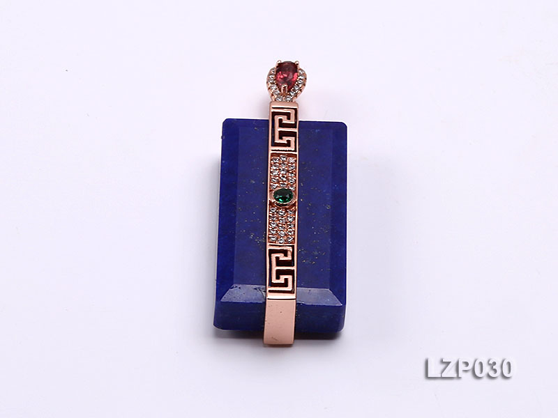 47x18mm Lapis Lazuli Pendant with Sterling Silver Bail Dotted with Zircons big Image 1