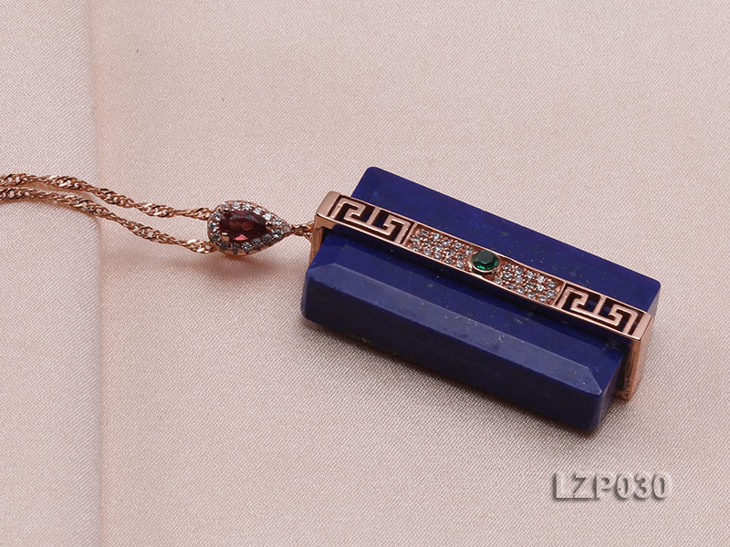 47x18mm Lapis Lazuli Pendant with Sterling Silver Bail Dotted with Zircons big Image 2
