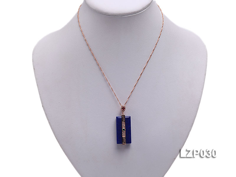 47x18mm Lapis Lazuli Pendant with Sterling Silver Bail Dotted with Zircons big Image 5