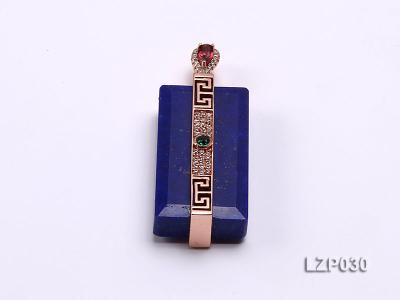 47x18mm Lapis Lazuli Pendant with Sterling Silver Bail Dotted with Zircons LZP030 Image 1