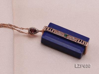 47x18mm Lapis Lazuli Pendant with Sterling Silver Bail Dotted with Zircons LZP030 Image 2
