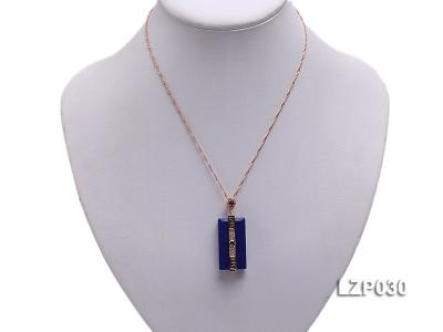 47x18mm Lapis Lazuli Pendant with Sterling Silver Bail Dotted with Zircons LZP030 Image 5