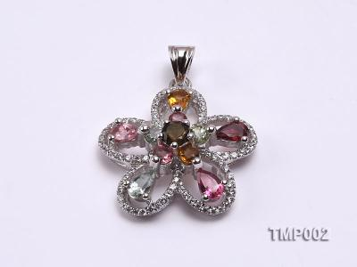 30x23mm Natural Tourmaline Pieces Pendant with Sterling Silver Pendant Bail TMP002 Image 1
