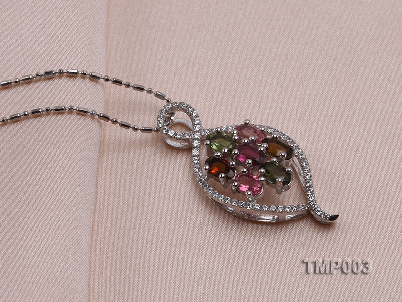 32x15mm Natural Tourmaline Pieces Pendant with Sterling Silver Pendant Bail big Image 2