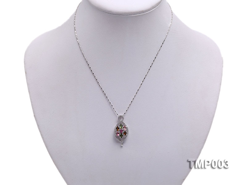 32x15mm Natural Tourmaline Pieces Pendant with Sterling Silver Pendant Bail big Image 5