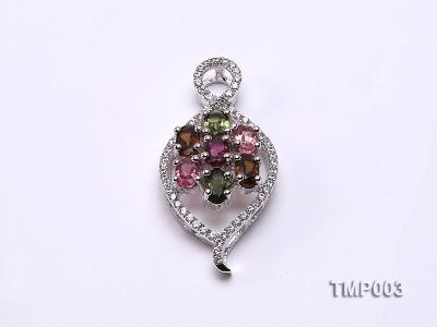32x15mm Natural Tourmaline Pieces Pendant with Sterling Silver Pendant Bail TMP003 Image 1