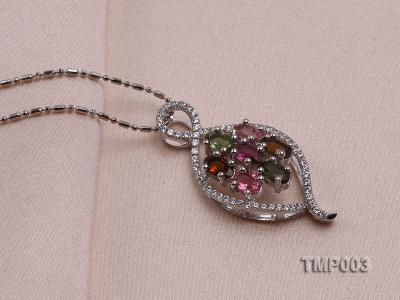 32x15mm Natural Tourmaline Pieces Pendant with Sterling Silver Pendant Bail TMP003 Image 2