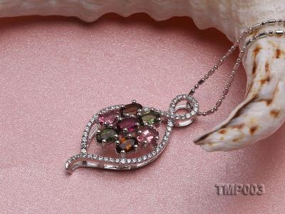 32x15mm Natural Tourmaline Pieces Pendant with Sterling Silver Pendant Bail TMP003 Image 3