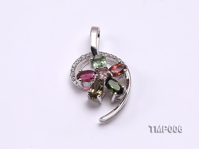 26x14mm Natural Tourmaline Pieces Pendant with Sterling Silver Pendant Bai big Image 1
