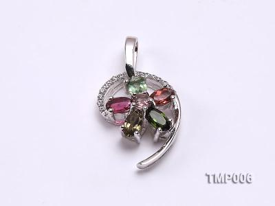 26x14mm Natural Tourmaline Pieces Pendant with Sterling Silver Pendant Bai TMP006 Image 1