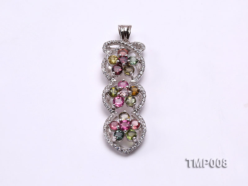 44x10mm Natural Tourmaline Pieces Pendant with Sterling Silver Pendant Bail big Image 1