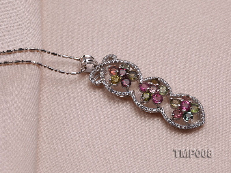 44x10mm Natural Tourmaline Pieces Pendant with Sterling Silver Pendant Bail big Image 2