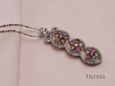 44x10mm Natural Tourmaline Pieces Pendant with Sterling Silver Pendant Bail TMP008 Image 2
