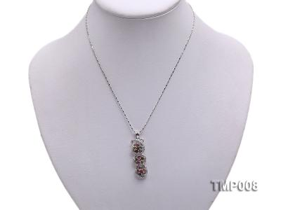 44x10mm Natural Tourmaline Pieces Pendant with Sterling Silver Pendant Bail TMP008 Image 5