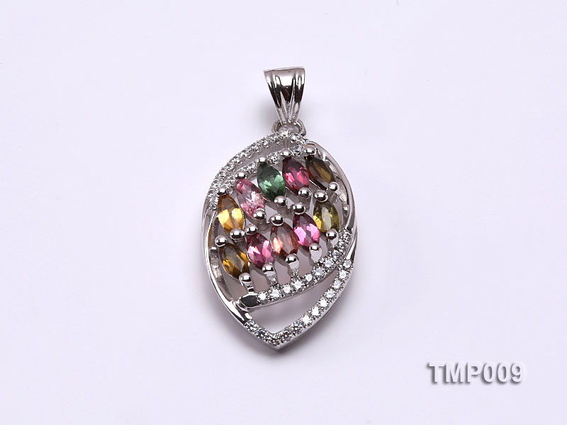 32x15mm Natural Tourmaline Pieces Pendant with Sterling Silver Pendant Bail big Image 1