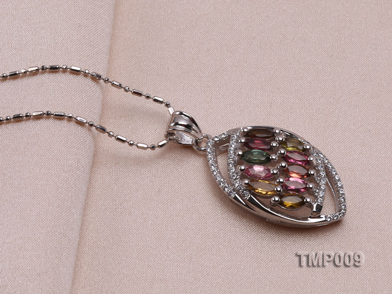 32x15mm Natural Tourmaline Pieces Pendant with Sterling Silver Pendant Bail big Image 4