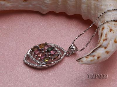 32x15mm Natural Tourmaline Pieces Pendant with Sterling Silver Pendant Bail TMP009 Image 3