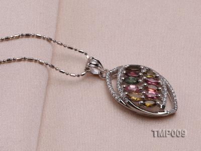 32x15mm Natural Tourmaline Pieces Pendant with Sterling Silver Pendant Bail TMP009 Image 4