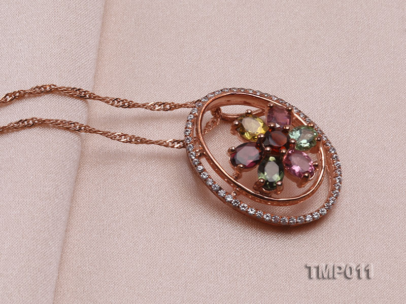 23x18mm Natural Tourmaline Pieces Pendant with Sterling Silver Pendant Bail big Image 2
