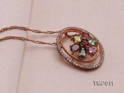23x18mm Natural Tourmaline Pieces Pendant with Sterling Silver Pendant Bail TMP011 Image 2