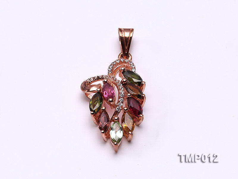 35x15mm Natural Tourmaline Pieces Pendant with Sterling Silver Pendant Bail big Image 1