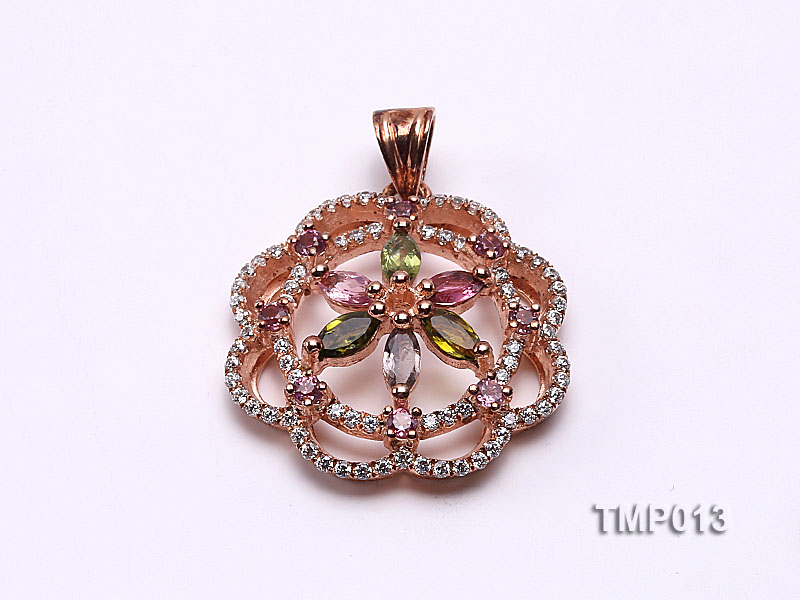 30x23mm Natural Tourmaline Pieces Pendant with Sterling Silver Pendant Bail big Image 1