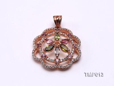 30x23mm Natural Tourmaline Pieces Pendant with Sterling Silver Pendant Bail TMP013 Image 1