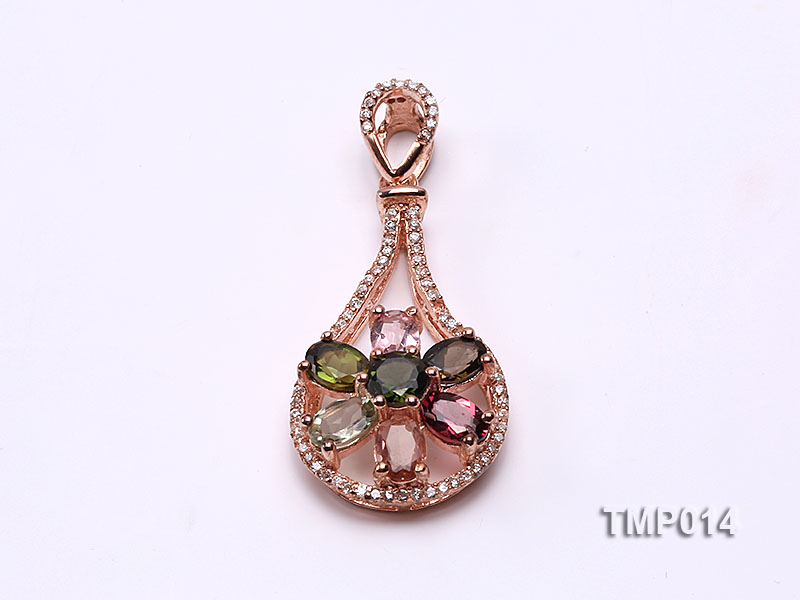 40x18mm Natural Tourmaline Pieces Pendant with Sterling Silver Pendant Bail big Image 1
